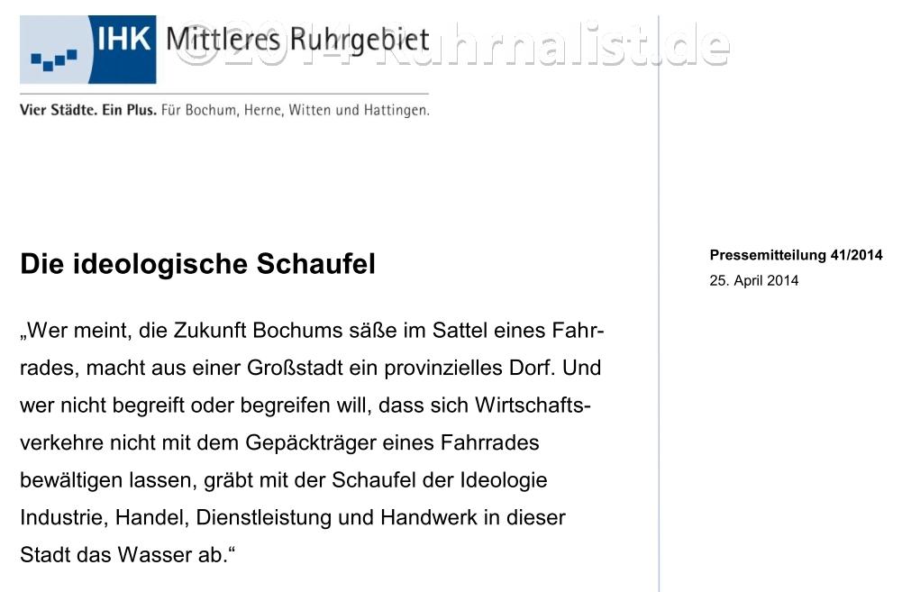 """""""Wer meint, die Zukunft Bochums säße im Sattel eines Fahrrades, macht aus einer Großstadt ein provinzielles Dorf"""""""